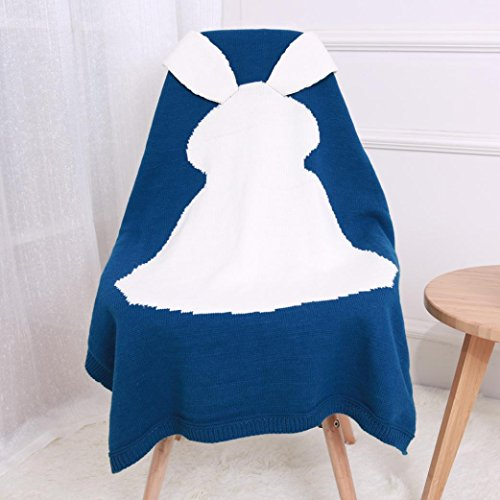 Price comparison product image Iusun Baby Kids Rabbit Knitting Blanket Bedding Quilt Play Blanket Animal Throw Blanket Crib Wrap Blanket 28.7x41.3 Inch (Blue, 28.7x41.3 Inch)