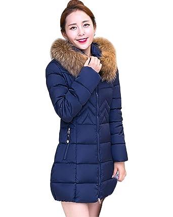 82fd5b2e328c7 Donna Inverno Lungo Giacca Spessore Sottile Cappotto Imbottito con Cappuccio  di Pelliccia Ecologica  Amazon.it  Abbigliamento