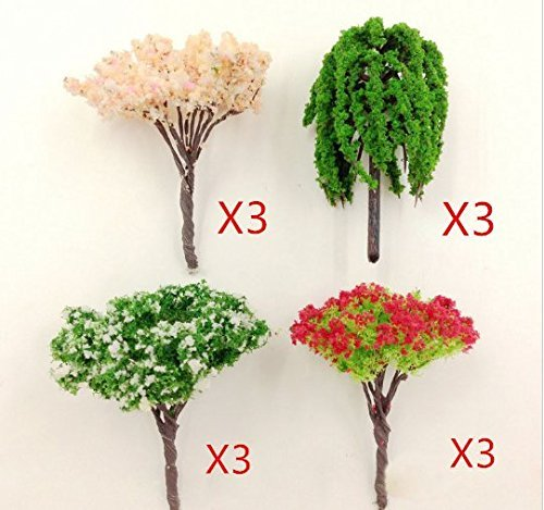 URTop 12Pcs Artificial Pink Tree Willow Miniature Fairy Garden Tree Plant Home Houses Decoration Mini Craft Micro Landscaping Decor DIY Accessories