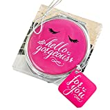 Hello Gorgeous Silver Metal Compact Mirror In Hot Pink , 18