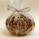 Elegant Easter Egg, Premium Swiss Milk Chocolate, Hollow with Petite Hand-Painted Milk Solid Eggs, Gift-wrapped with a Silver Ribbon
