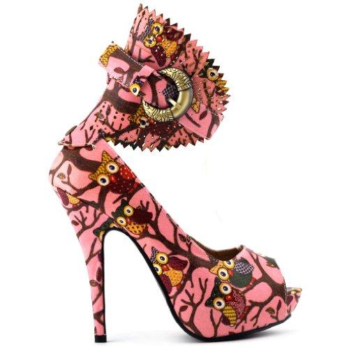 Mostrar historia multicolor patrón Floral o Animal Gladiador plataforma bombas, LF30402 multicolor - rosa