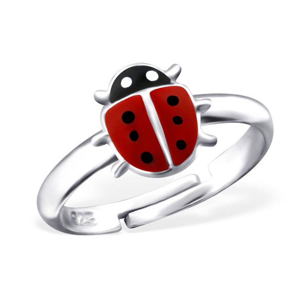 Girls Jewelry Cute Small Red Ladybird Ring Size Adjustable 2-4 for Girls Sterling Silver 925 (E23478)