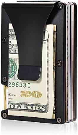 Aluminum Metal Wallet Front Pocket Minimalist Wallet & Money Clip Slim Wallet RFID Blocking (Black)