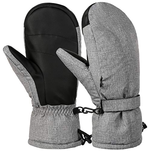 VBG VBIGER Winter Ski Mittens Waterproof Ski Gloves Warm Snow Snowboard Mittens Outdoors Cold Weather Mittens for Men Women (Large, Grey)