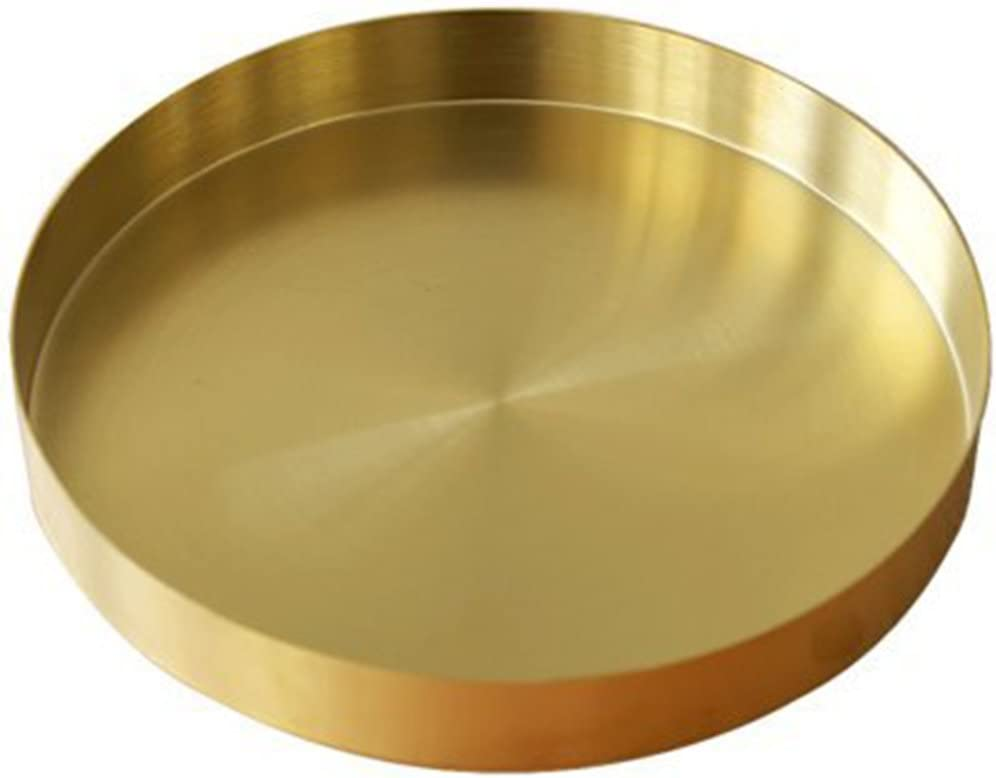UniDes - Round Brass Tray,Gold Decorative Tray Metal Storage Organizer Tray for Modern Home,Matte Brass Finish | 8.66 Inch