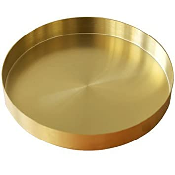 Shsycer Modern Style Round Metal Decorative Tray Like Matte Brass Plated Finished 7 Inch