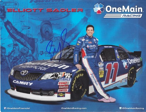 Autographed 2013 Elliott Sadler  11 Onemain Financial Racing  Nationwide  Signed 9X11 Nascar Promo Hero Card W  Coa