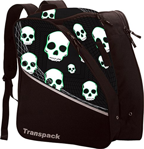 Transpack Edge Junior Kids Ski/Snowboard Boot Bag - Black/Green Skull - Edge Ski Bag