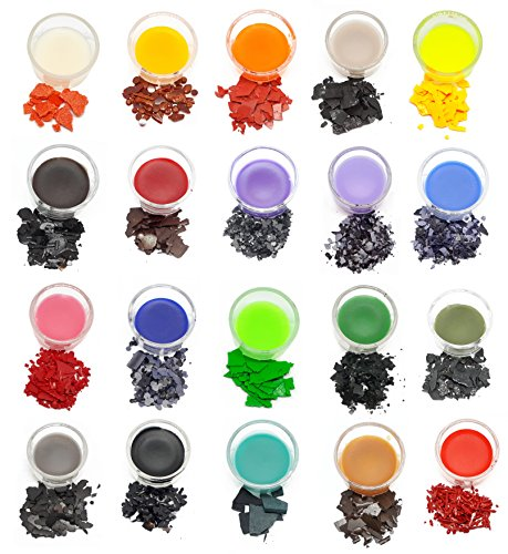 Candle Dye Plus Candle Wicks: 20 colors, 50 pre-waxed wicks, candle pigment, dye flakes, dye chips, great selection of colors. Made in Germany