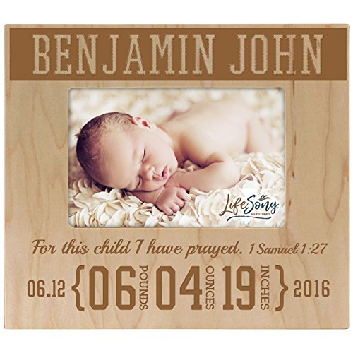 (Personalized New Baby birth announcement picture frame for newborn boys and girls Custom engraved photo frame for new mom and dad parents and grandparents For this child I have prayed (Maple) )
