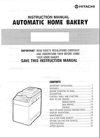 Hitachi Pan máquina eléctrica manual de instrucciones y recetas HB ...