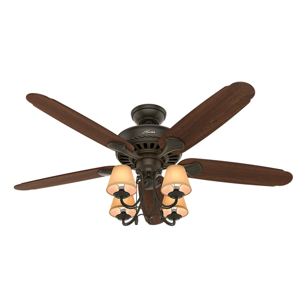 Hunter 53094 Cortland Ceiling Fan with Five Dark Cherry Walnut Blades and Light Kit, 54-Inch, New Bronze
