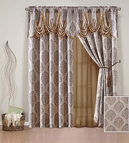 """Sapphire Home 2 Jacquard Window Curtain Drape Panels 84"""" Long w/Attached Valance + Sheer Liner Backing + 2 Tassel Tie Backs, Rod Pocket, Damask Pattern, Living/Dining Room, Briana V Coffee/Brown"""