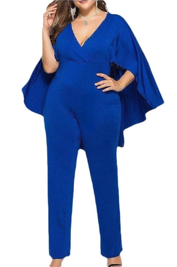 YONGM Women Fashion Bat Wing Sleeve One Piece Casual Wide Legs Romper Loose Jumpsuit