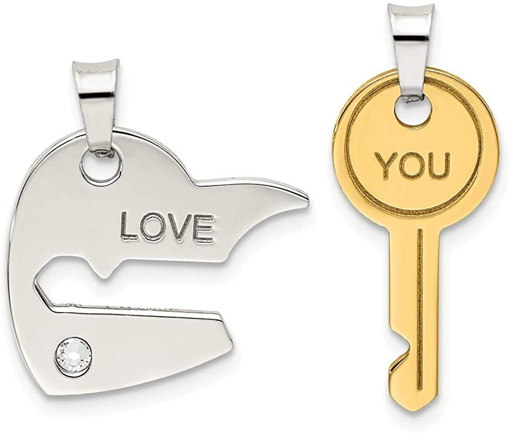 925 Sterling Silver and Rosetone Crystal Love Heart Key Breakapart Pendant Necklace Jewelry Gifts for Women