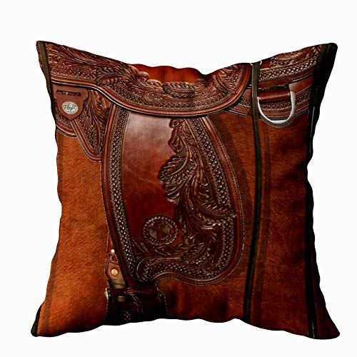 Shorping Zippered Pillow Covers Pillowcases 16X16 Inch Western Leather Look Saddle Tackle Decorative Throw Pillow Cover,Pillow Cases Cushion Cover for Home Sofa Bedding (Couch Western Covers)