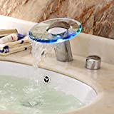 Lightinthebox® Water Flow Powered Color Changing Led Widespread Waterfall Two Handles Hydroelectric Power Glass Bathroom Sink Faucet Chrome Finish Bathtub Mixer Taps Bath Shower Roman Tub Faucets Lavatory Plumbing Fixtures Vessel Sink Faucets Vanity
