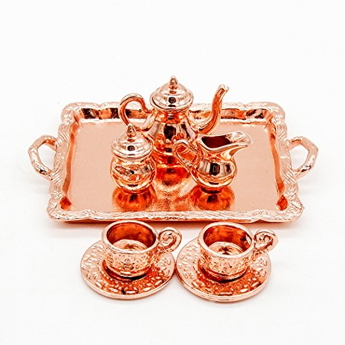 Odoria 1:12 Miniature 8PCS Vintage Copper Tea Cup Coffee Serving Set Dollhouse Kitchen Accessories