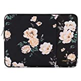 MOSISO Laptop Sleeve Bag Compatible 13-13.3 Inch MacBook Pro, MacBook Air, Notebook Computer, Vertical Style Water Repellent Polyester Protective Case Cover with Pocket, Black Peony