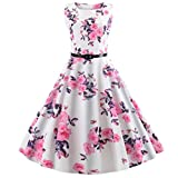 UOFOCO Swing Dress Women Fashion Dress Vintage Rounch Neck Evening Printing Party Prom