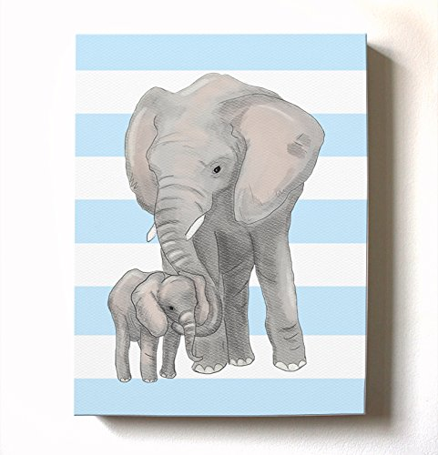 Modern Stretched Canvas Elephant Nursery Decor - Adorable & Unique Striped Animal Safari Wall Art Design - Memorable Baby Gift Idea 100% Wooden Frame Construction - Ready To Hang 20X24 by MuralMax