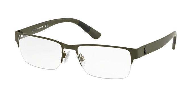 Polo 0PH1185 Monturas de gafas, Rectangulares, 56, Matte Olive ...