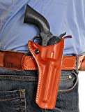 gun belt accesories - LEATHER OWB PADDLE HOLSTER, OPEN TOP FOR REVOLVER RUGER VAQUERO 5.5''BBL 45 COLT, BROWN COLOR R/H DRAW #0122#