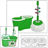 Tooltime® Green 360° Spinning Magic Spin Mop and Bucket Cleaning Kit with 3 Microfibre Heads
