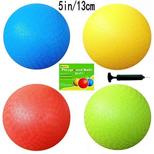 Pg Ball Set (5 Inch Playground Balls (Set of 4) with 1 Hand Pump)
