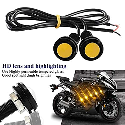 Yifengshun 18mm Eagle Eye Led Lights High Power 9W Yellow Daytime Running Light Car Motorcycle DRL Car Accessories Marker Light Fog Lamp Backup Clearance Marker Light(10pcs): Automotive