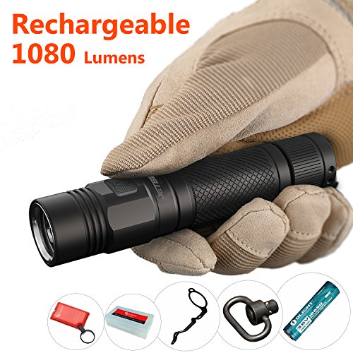 High Lumen 18650 Flashlight Rechargeable: JETBeam KO-01 Powerful Torch Light with Clip, Super Bright 1080 Lumen, Waterproof, Best Outdoor/EDC/Law Enforcement Strobe Flashlight, Include 18650 Battery