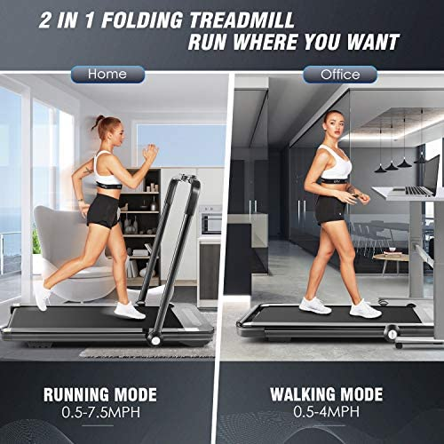 HIROLLOP 2 in1 Folding Treadmill, 2.25HP Under Desk Electric Treadmill with Remote Control and Bluetooth Speaker LCD Monitor,Installation-Free,Exercise Fitness Machine for Home Office Use