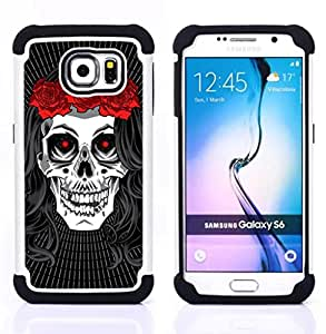 GIFT CHOICE / Defensor Cubierta de protección completa Flexible TPU Silicona + Duro PC Estuche protector Cáscara Funda Caso / Combo Case for Samsung Galaxy S6 SM-G920 // Hippie Skull Peace Red Rose Devil //