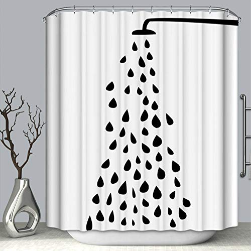 Cute Black and White Shower Curtain, HD & 3D Printing Fabric Bath Curtain Hooks Set, Stick Figure Shower Head Water Drop Bathroom Shower Door Decor, Water-Proof Mold-Free 70 by 70 Inch Simple
