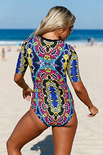 b7a7d9d788 Buy Aleumdr Womens Zip Front Printed Half Sleeve One Piece Swimsuit Rash  Guard Swimwear Color Blocked Plus Size 2XL Size Multicoloured Online at Low  Prices ...