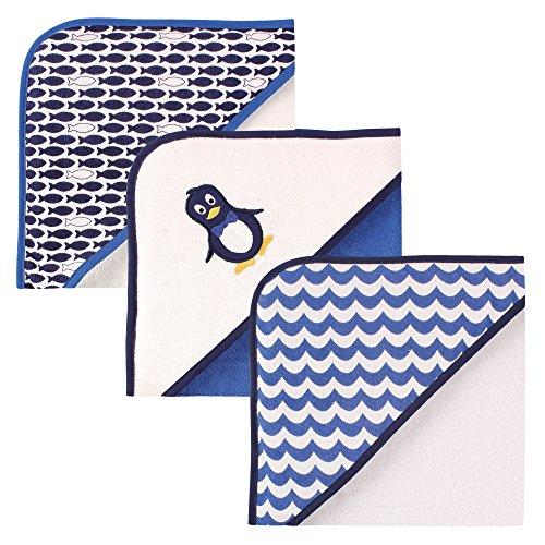 Luvable Friends Boys 3 Pack Penguin Hooded Towel