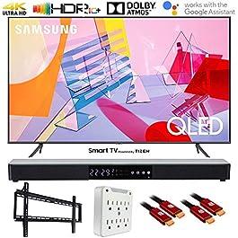 Samsung QN55Q60TA 55″ Q60T QLED 4K UHD Smart TV (2020) with Deco Gear Soundbar Bundle