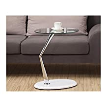 Monarch Specialties Metal Accent Table/Tempered Glass, Chrome/Glossy White
