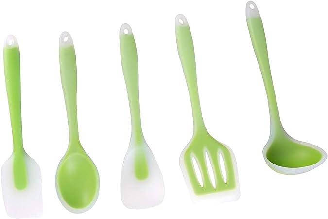 Utensilios de cocina de silicona GSY. 5 pack new set verde: Amazon.es: Hogar