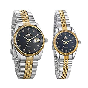 JewelryWe Luxury Couple Watches Gold-Silver Tone Stainless Steel Quartz Calendar Wristwatch Rhinestone His and Her Watch Set