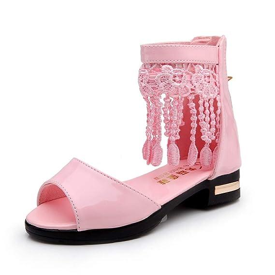 Vovotrade Mädchen Fransen Fisch Mund Prinzessin Schuhe römische Stiefel Tanzschuhe Sandalen, Mary Jane Lok Fu Schuhe und Booties, Quasten fügen einen