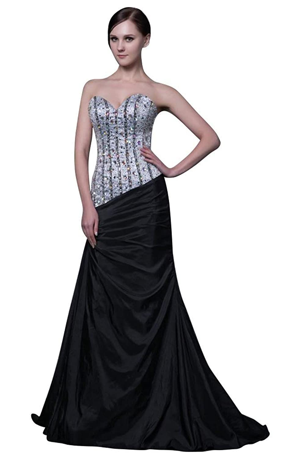 GEORGE BRIDE Latest Design Gorgeous Strapless Long Black Evening Gown