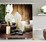 Ambesonne Spa Decor Shower Curtain, Asian Spa Style Decoration with Zen Stones Candle Flowers and Bamboo, Fabric Bathroom Decor Set with Hooks, 84 Inches Extra Long, White Green and Black