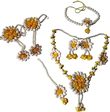 7c01a7ad1 Buy Urbalaa Floret Yellow, White Gota Patti Necklace, Earrings, Hath Phool,  Baju Bandh & Maang Tika (7 Items) for Women & Girls (Mehandi/Haldi) Online  at ...