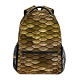 Brown Fish Scales Casual Backpack School Bag Outdoor Hiking Travel Camping Daypack