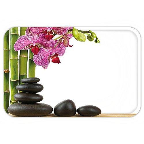Lionkin8 Felpudo con orquídea rosa, diseño de orquídea con piedra ...