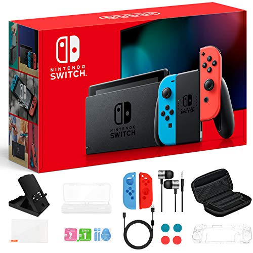 """Newest Nintendo Switch 32GB Console with Neon Blue and Neon Red Joy-Con, 6.2"""" Touchscreen 1280x720 LCD Display, 802.11AC WiFi, Bluetooth 4.1, Bundled with TSBEAU 19 in 1 Carrying Case Accessories"""