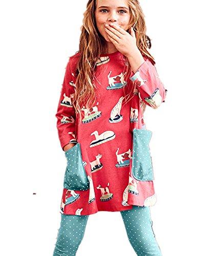 Baby Animal Dots - Cute Girl Animal Dot Print Long Sleeve Cotton Basic Dress for Legging 2 Pocket