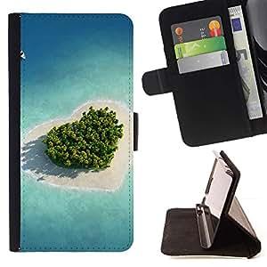For HTC One M8 Case , Naturaleza Hermosa Forrest Verde 27- la tarjeta de Crédito Slots PU Funda de cuero Monedero caso cubierta de piel